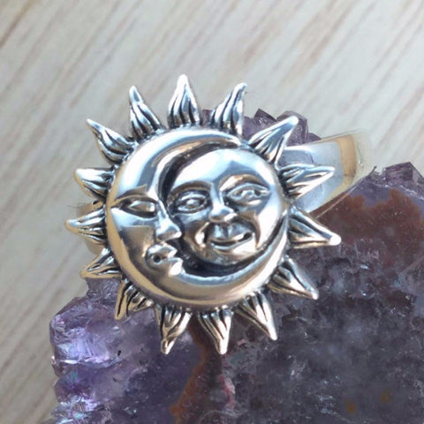 Sterling Silver Sun and Moon Ring - Sterling Silver Rings - AlphaVariable