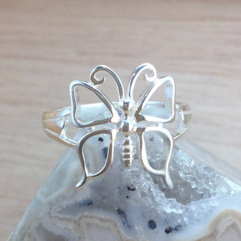 Sterling Silver Butterfly Ring - Sterling Silver Rings - AlphaVariable