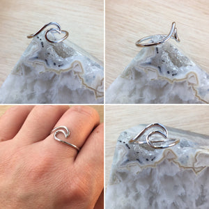 Sterling Silver Wave Ring - Sterling Silver Rings - AlphaVariable