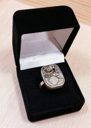 Sterling Silver Steampunk Watch Movement Ring - Sterling Silver Rings - AlphaVariable