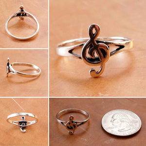 Sterling Silver Treble Clef Ring - Sterling Silver Rings - AlphaVariable