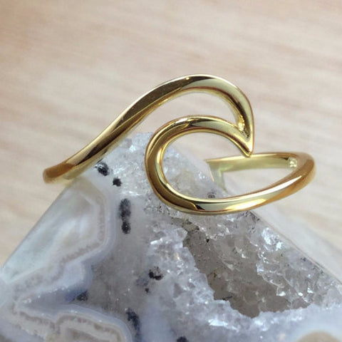 Gold Wave Ring - Sterling Silver Rings - AlphaVariable