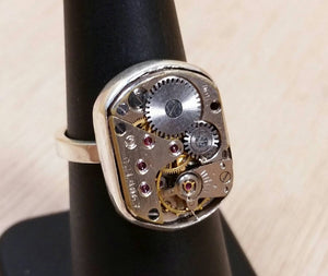Steampunk Watch Movement Ring - Ring - AlphaVariable