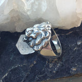 Sterling Silver Lion's Head Ring - Sterling Silver Rings - AlphaVariable