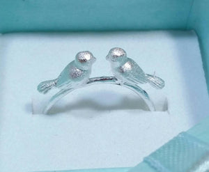 Sterling Silver Kissing Bird Ring - Sterling Silver Rings - AlphaVariable