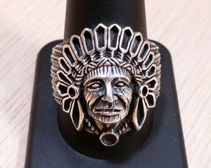 Sterling Silver Native American Indian Chief Ring - Sterling Silver Rings - AlphaVariable