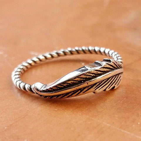 Sterling Silver Feather Ring - Sterling Silver Rings - AlphaVariable