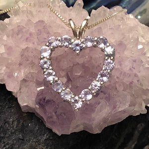 Tanzanite Heart Necklace Sterling Silver Jewelry -  - AlphaVariable