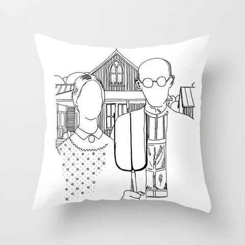 American Gothic Revival Pillow Cover - Pillow Cover - AlphaVariable