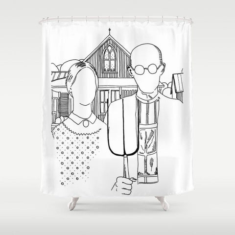American Gothic Revival Shower Curtain - Shower Curtain - AlphaVariable