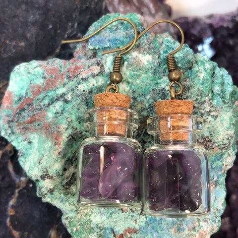Amethyst Bottle Earrings February Birthstone Bronze Glass Bottles