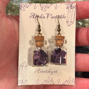 Amethyst Bottle Earrings - Earrings - AlphaVariable