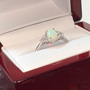 White Gold Diamond Opal Ring - Ring - AlphaVariable
