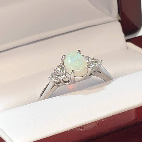 White Gold Diamond Opal Ring - Rings - AlphaVariable