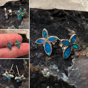 Blue Opal Cross Earrings - Earrings - AlphaVariable