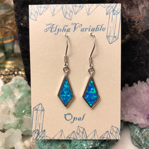 Blue Opal Diamond Earrings - Earrings - AlphaVariable