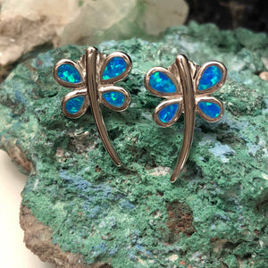Blue Opal Dragonfly Earrings - Sterling Silver Studs - AlphaVariable