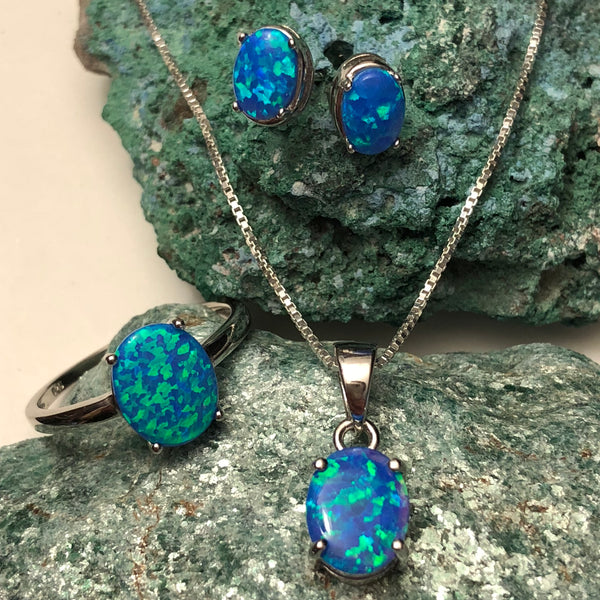 Blue Opal Ring + Necklace + Earrings Jewelry Set - Jewelry Sets - AlphaVariable