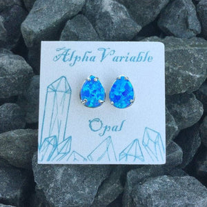 Teardrop Opal Earrings - Earrings - AlphaVariable