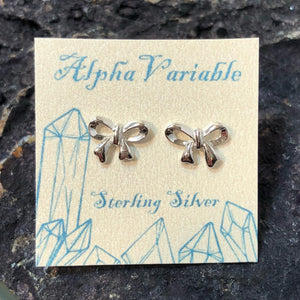 Bow Earrings - Sterling Silver Studs - AlphaVariable