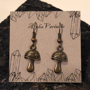 Bronze Mushroom Earrings - Earrings - AlphaVariable