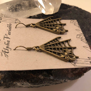 Bronze Spider Web Earrings - Earrings - AlphaVariable