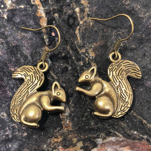 Bronze Squirrel Earrings - Earrings - AlphaVariable