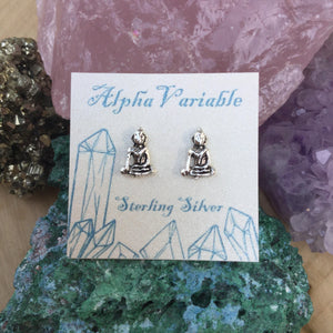 Buddha Earrings - Sterling Silver Studs - AlphaVariable