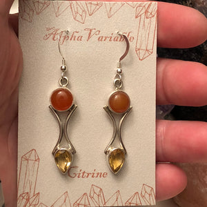 Carnelian + Citrine Earrings - Earrings - AlphaVariable