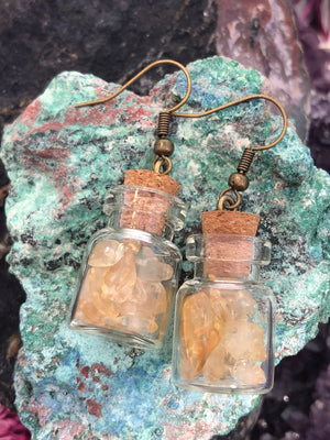 Citrine Bottle Earrings - Earrings - AlphaVariable