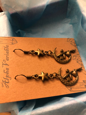 Crescent Moon + Star Fairy Earrings - Earrings - AlphaVariable