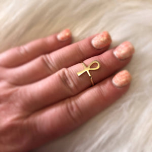 14k Gold Ankh Ring - Ring - AlphaVariable