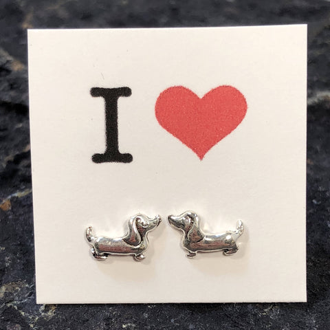 I Love Dachshunds Earrings - Sterling Silver Studs - AlphaVariable