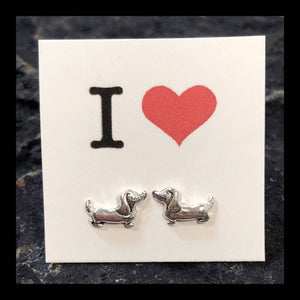Dachshund Earrings Sterling Silver Studs - Sterling Silver Studs - AlphaVariable
