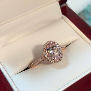 Morganite White Gold Ring with Diamond Accents - Ring - AlphaVariable