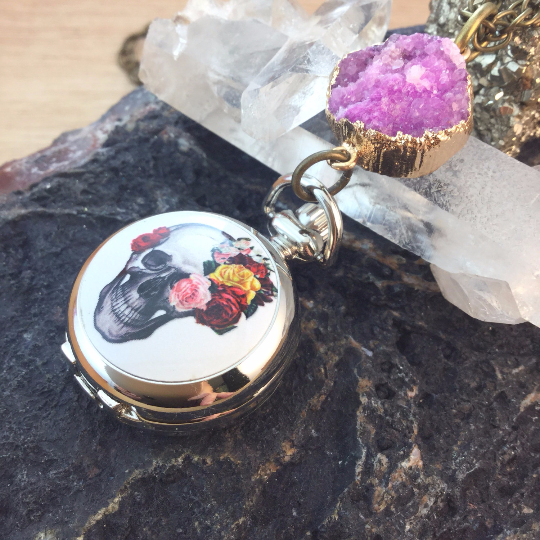Druzy Flower Skull Pocket Watch Necklace - Pocket Watch Necklace - AlphaVariable