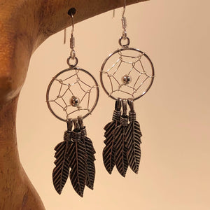 Dream Catcher Earrings Sterling Silver Dreamcatchers - Earrings - AlphaVariable