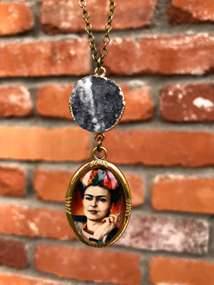 Frida Kahlo Druzy Necklace - Necklace - AlphaVariable