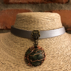 Emerald Nugget Choker Necklace - Steampunk Necklace - AlphaVariable