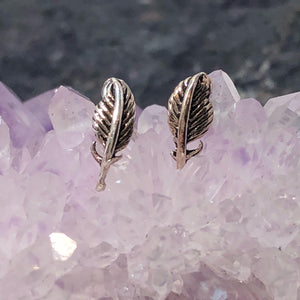 Feather Earrings - Sterling Silver Studs - AlphaVariable