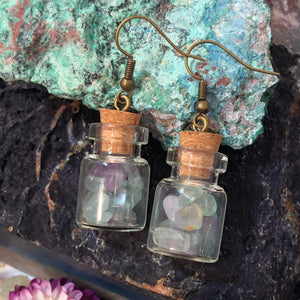 Fluorite Bottle Earrings - Earrings - AlphaVariable
