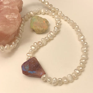 Freshwater Pearl Muscovite Crystal Necklace - Necklace - AlphaVariable