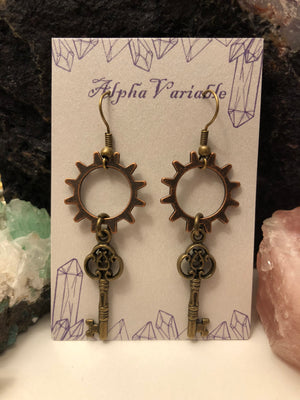 Steampunk Gear + Key Earrings