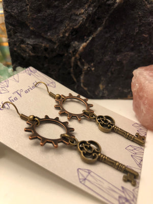 Steampunk Gear + Key Earrings - Earrings - AlphaVariable