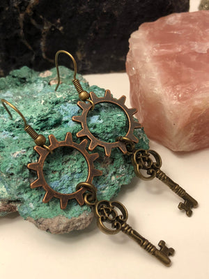 Gear + Key Earrings - Earrings - AlphaVariable