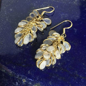 Gold Ristra Moonstone Earrings - Earrings - AlphaVariable