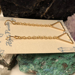 Gold Triangle Earrings - Earrings - AlphaVariable