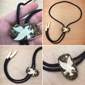 Hand Carved Bone Eagle Bolo Tie - Necklace - AlphaVariable