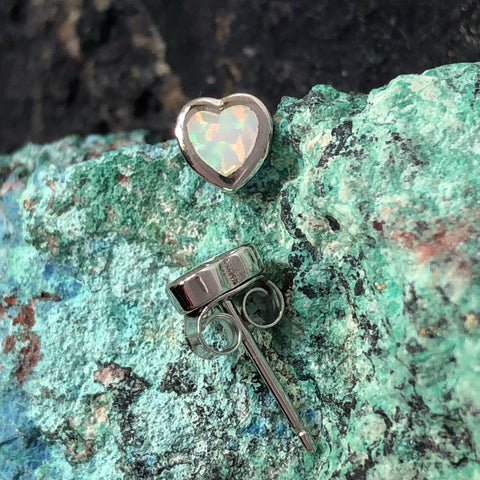 Opal Heart Earrings
