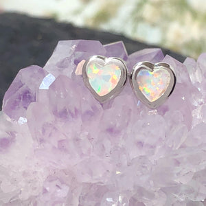 Opal Heart Earrings - Earrings - AlphaVariable